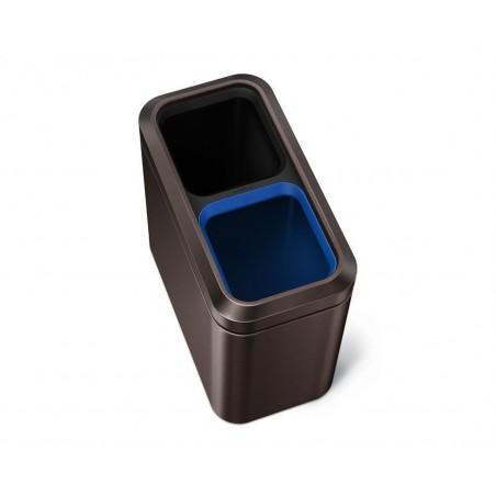 simplehuman® 20lt açık slim geri dönüşümlü çöp kutusu 'dark bronze'