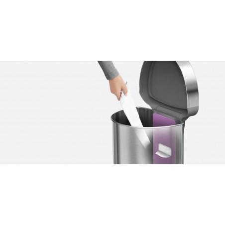 simplehuman ® 45lt yarım daire sensörlü çöp kutusu beyaz st2018
