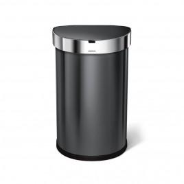 simplehuman® 45L sensörlü yarım daire çöp kutusu -siyah paslanmaz çelik- hareket duyarlı