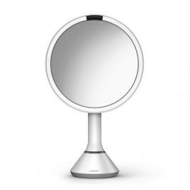 simplehuman® 20cm sensörlü ayna -beyaz paslanmaz çelik- 5x büyütme, dokunmatik ışık kontrolü