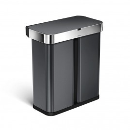 """simplehuman® 58L sensörlü dikdörtgen geri dönüşümlü çöp kutusu -rose gold çelik- """"open can"""" ses ve hareket duyarlı"""
