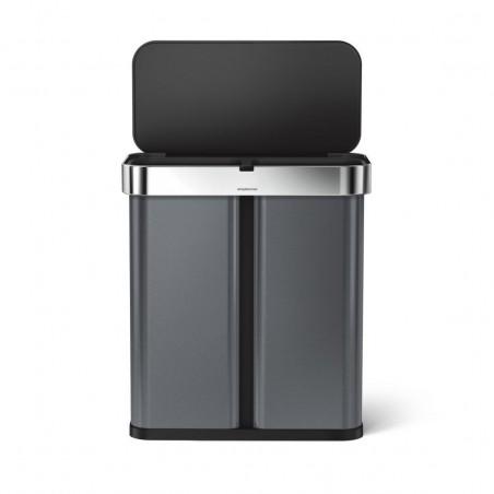 """simplehuman® 58lt sensörlü dikdörtgen geri dönüşümlü çöp kutusu -siyah çelik- """"open can"""" ses ve hareket duyarlı"""