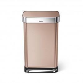 simplehuman® 45L pedallı dikdörtgen çöp kutusu -rose gold çelik- çöp torbası hazneli