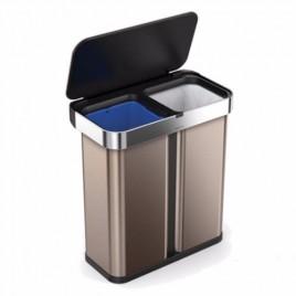 Simplehuman   58L Dikdörtgen Çöp Kutusu, Sensör, Geri Dönüşüm, Rose Gold