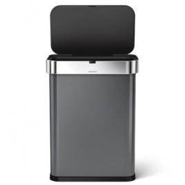 Simplehuman   58L Dikdörtgen Çöp Kutusu, Sensör, Siyah