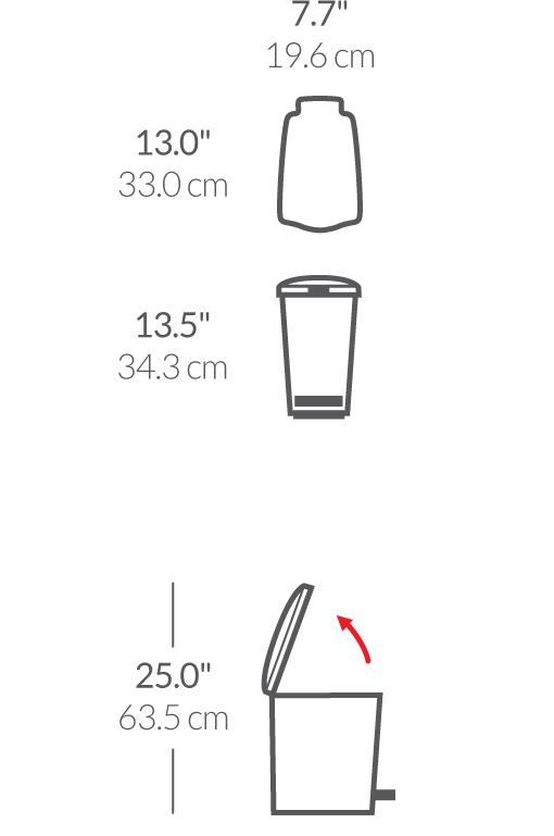 simplehuman® 10lt plastik slim küçük çöp kutusu CW1332