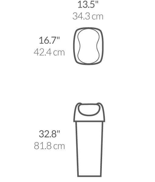 simplehuman® 60lt plastik sallanan kapak çöp kutusu CW1335