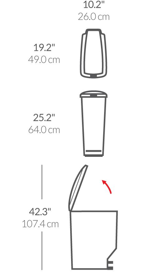 40 litre pedallı slim çöp kuıtusu boyutları