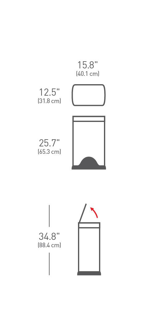 simplehuman ® 38lt pedallı dikdörtgen çöp kutusu CW1814