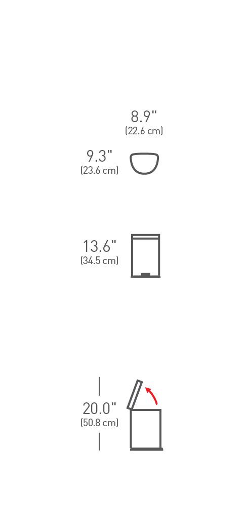 simplehuman ® 6lt yarım daire küçük çöp kutusu CW1834CB