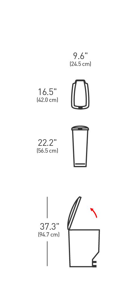 simplehuman ® 25lt pedallı plastik slim çöp kutusu siyah CW1343