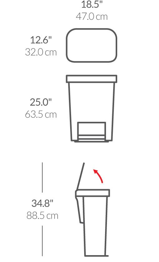 "simplehuman® 45lt plastik dikdörtgen pedallı çöp kutusu ""siyah"" CW1385CB"