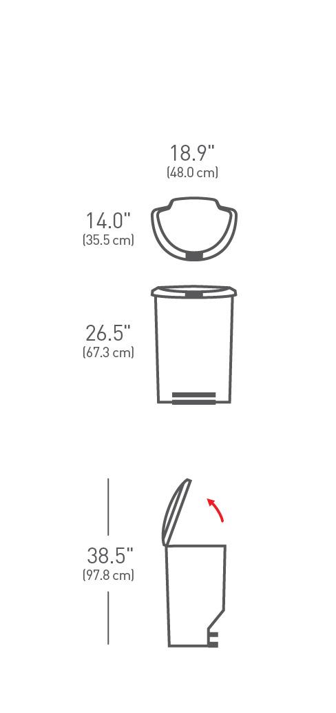 simplehuman® 50lt pedallı plastik yarım daire çöp kutusu CW1357