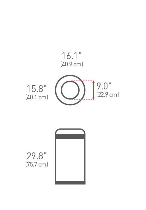 simplehuman ® 60lt açık - çemberli çöp kutusu CW1407