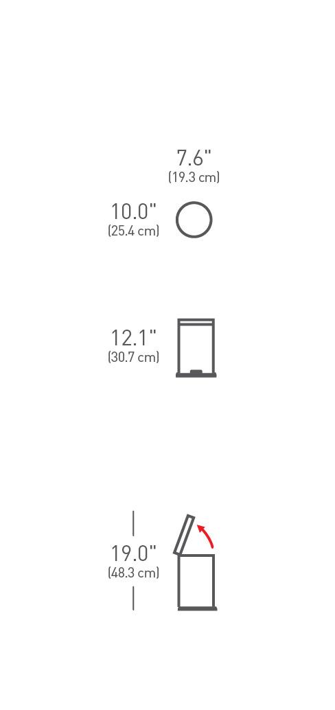 simplehuman ® 4.5lt yuvarlak küçük çöp kutusu dark bronze CW2040