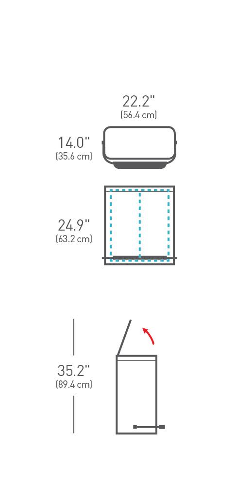 simplehuman ® 48lt pedallı çelik bar geri dönüşümlü çöp kutusu CW2003