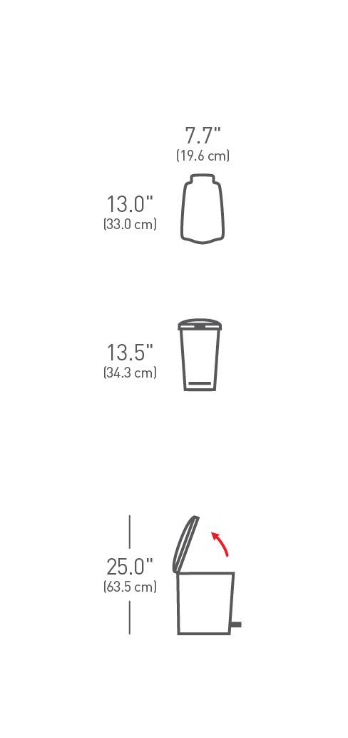 "simplehuman ® 10lt plastik slim küçük çöp kutusu ""siyah"" CW1329"