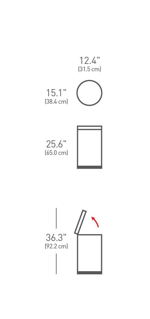 simplehuman ® 30lt pedallı yuvarlak çöp kutusu CW1810
