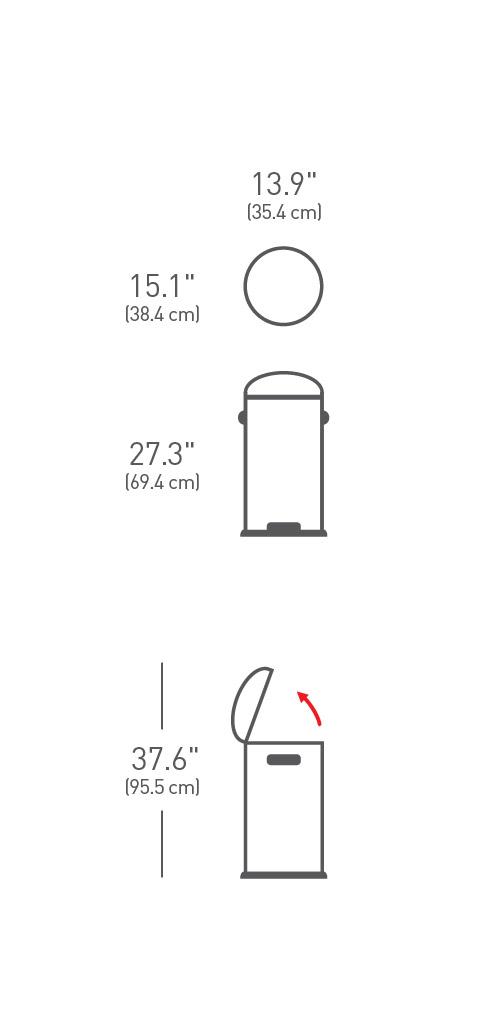 simplehuman ® 30lt pedallı retro çöp kutusu CW1880