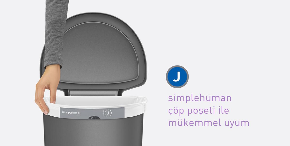 simplehuman st2011 sensörlü siyah plastik çöp kovası