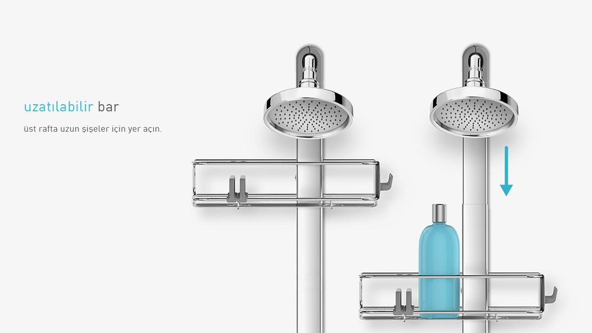 simplehuman® ayarlanabilir duş rafı ++PLUS BT1099