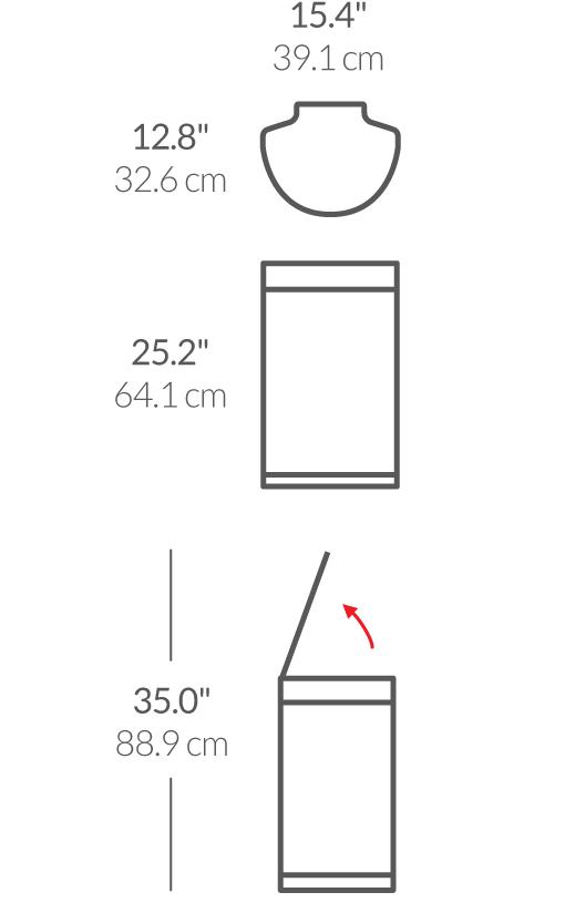 simplehuman ® 45lt yarım daire sensörlü gold rose çöp kutusu ST2012